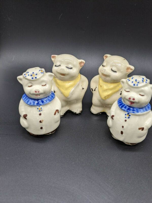 Vintage Shawnee Pottery Salt And Pepper Shakers Lot Winnie And Smiley Pig