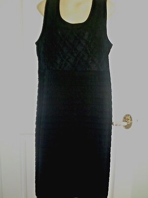 Kleid Stretch Lace Top (16 BLACK STRETCH SLEEVELESS  DRESS  LACE TOP BANDAGE PLEATS BELOW BUST SLIMS $29)