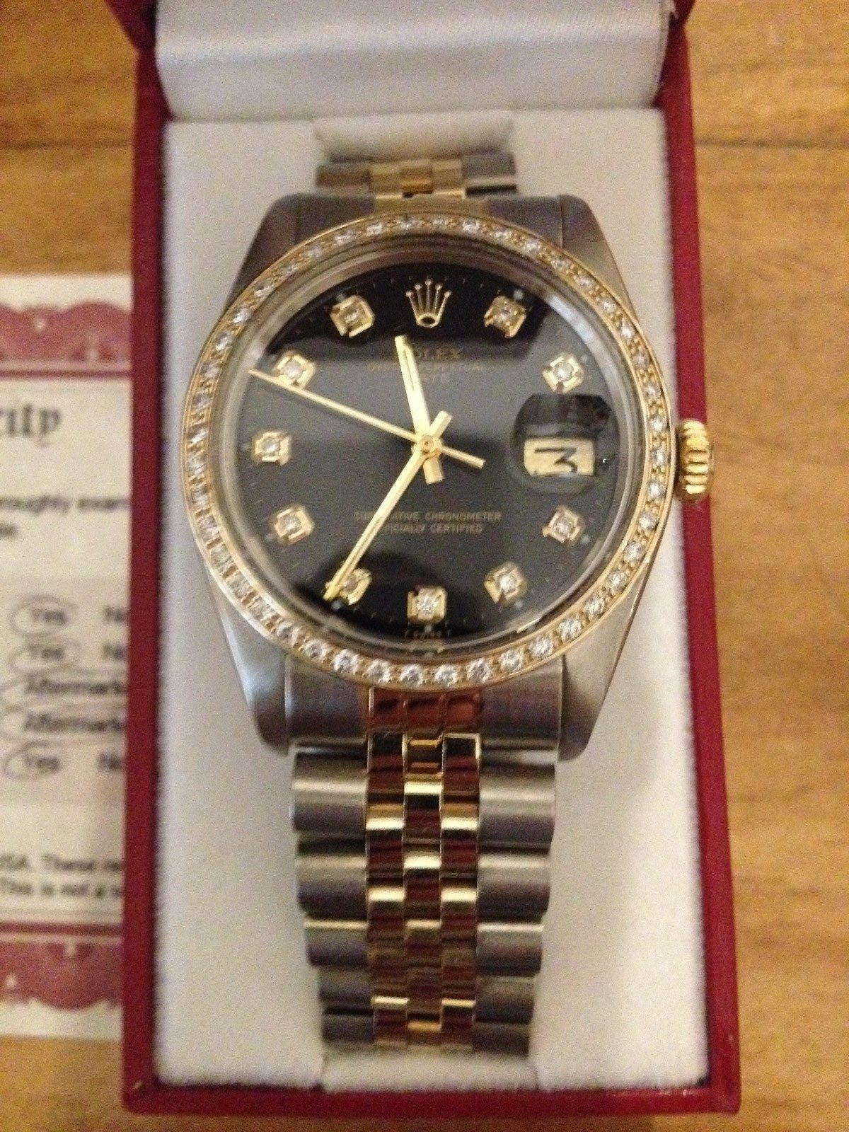 $3500.00 - Mens Rolex Date 14K Yellow Gold & Steel Watch Black Diamond Dial 1ct Bezel 1505