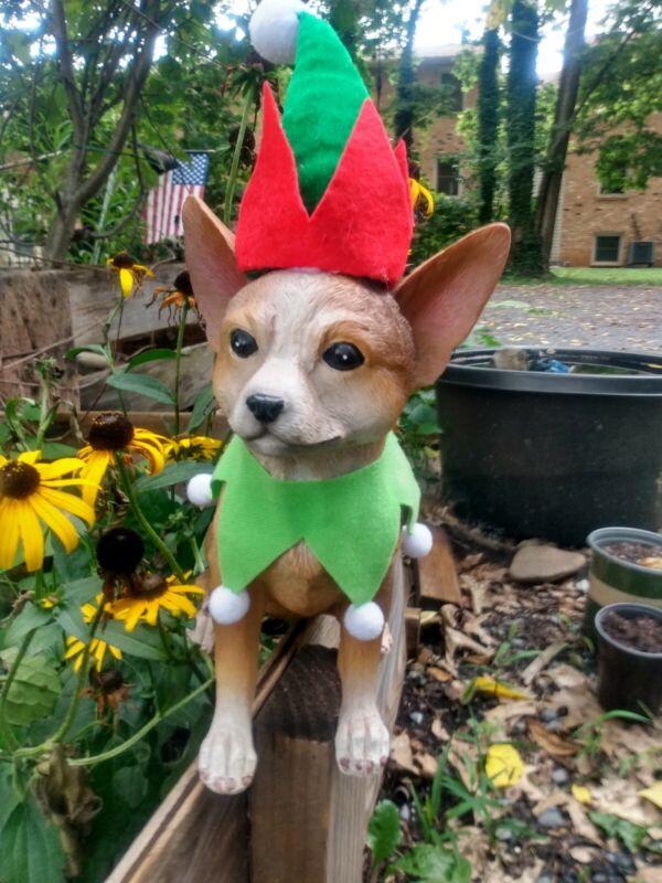 Christmas Chihuahua Dog - Collectible Statue Life Size Elf Santa