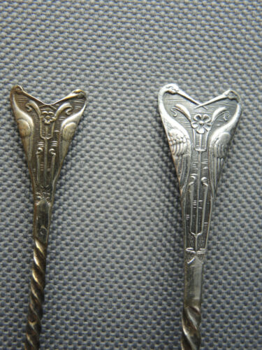Unique Set Art Nouveau Cranes-Birds Silver Demitasse & Coffee Spoons, LP
