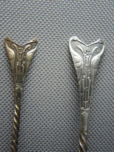 Unique Set Art Nouveau Cranes-Birds Silver Demitasse & Coffee Spoons, LP