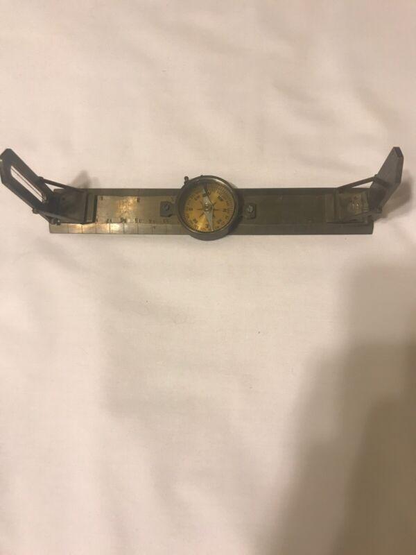 Vintage Stanley London Brass Navigational or Surveyors Folding Compass .