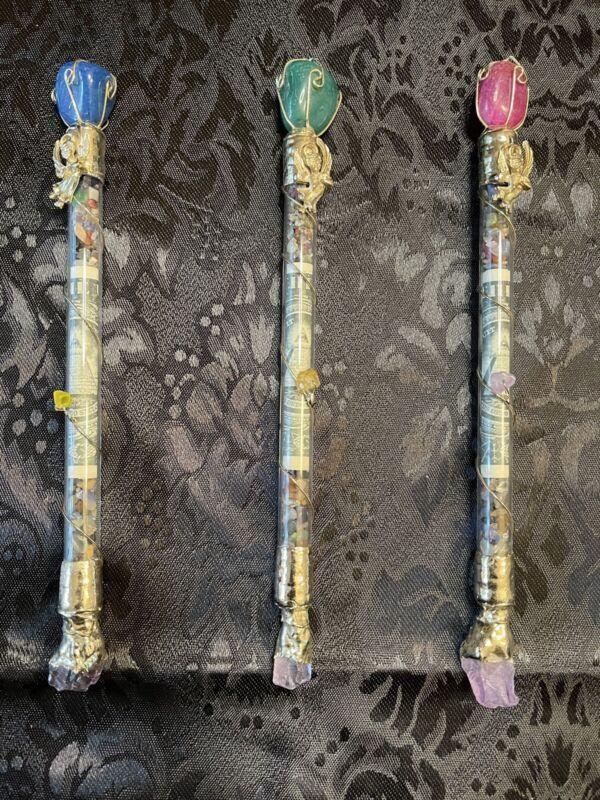 """Money"" 8"" Wand with Quartz and Other Semi-Precious Stones! ~Magickal"