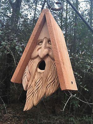 Wood Spirit Old Man Face rustic Hand Carved Cedar Bird House Birdhouse
