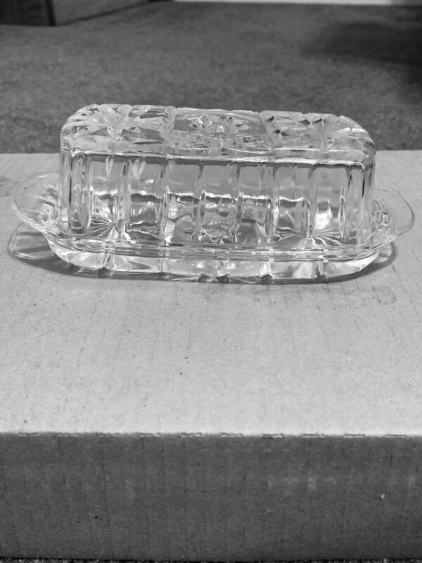 Star of David Covered Butter Dish Anchor Hocking EAPC Vintage 60s