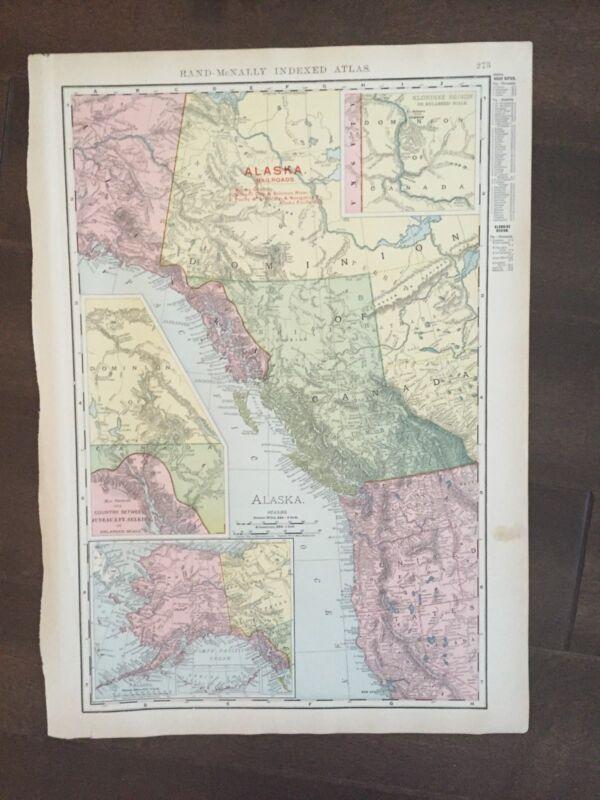 """LARGE COLOR 14"""" x 21"""""""" Rand McNally map of Alaska-1905"""