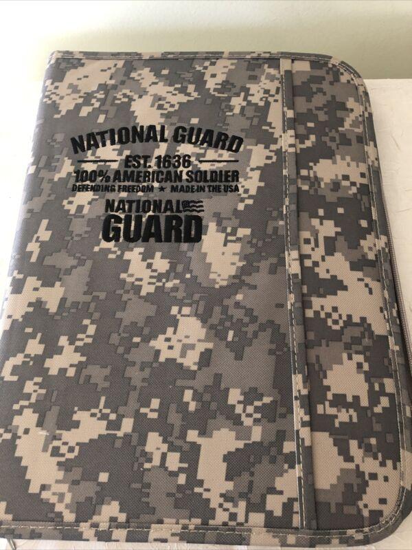 National Guard Notebook Organizer Paper Zip Portfolio Digital Camo New