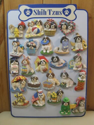 WILLABEE & WARD Shih Tzus Dog Magnets Collection Lot Set of 24 + Display Board