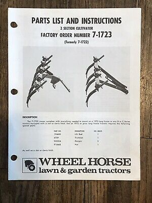 Wheel Horse 2 Section Cultivator 7-1723 Instruction Parts List