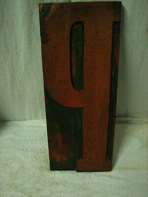 Vintage Huge 15 Wood Letterpress Block Print Type Letter P