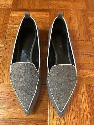 Nicholas Kirkwood Beya Flat Grey Wool Loafers - Size 39