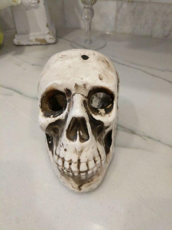 Antique Skull Tilso Pottery Japan candle holder vtg Halloween decor skeleton