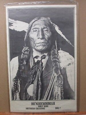Vint Blk & White Indian Poster Ho' Nihewoomah wolf Robe Cheyenne 1841-? in#G1590