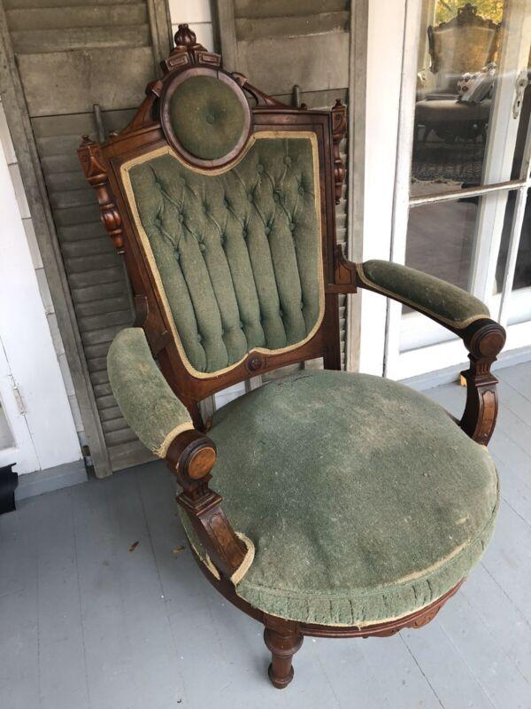 Eastlake Victorian 1800's Walnut Tufted Armchair