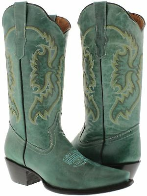 Women's Turquoise Western Cowboy Boots Real Leather Embroidered Snip Toe - Blue Cowboy Boots