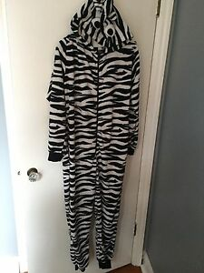 Adult fleece zebra onesie