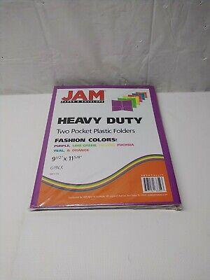Jam Paper Heavy Duty Plastic 2 Pocket School Folders- 6 Pack