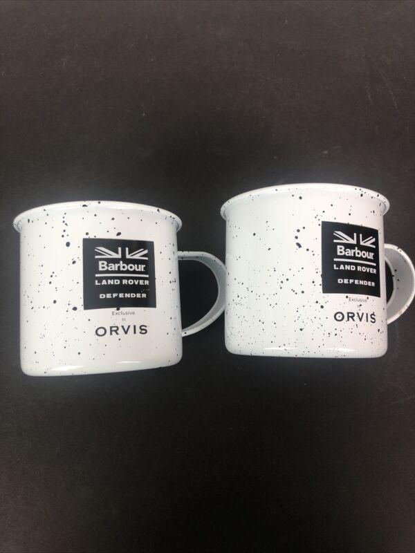 Barbour Land Rover Defender Orvis Mug Cup Barware Bar Metal Set 2 White Speckled