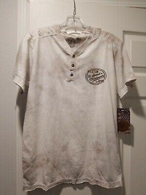 Affliction American Custom Motorcycle Shirt SS White Bronze SZ S $48. Henley
