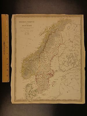 1844 BEAUTIFUL Huge Color MAP of Sweden Norway Denmark Scandinavia ATLAS
