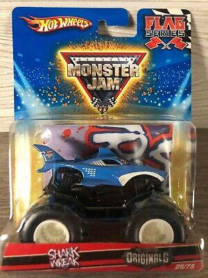 Hot Wheels Monster Jam Diecast Truck 1/64 Shark Wreak Flag Series RARE VHTF