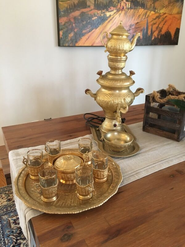 Electric Antique Persian Gold Plated Samovar and Tea Set (serving size 6)