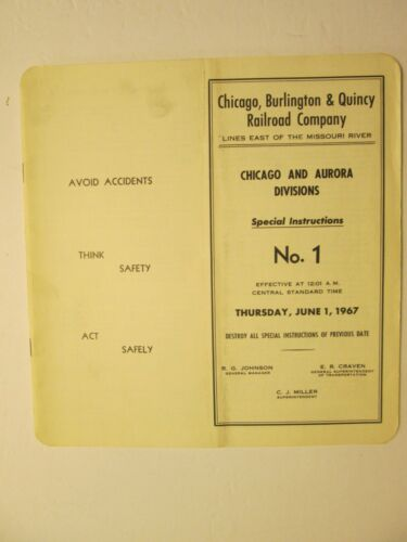 Chicago Burlington & Quincy Time Table No. 1 1967 Chicago & Aurora Divisions