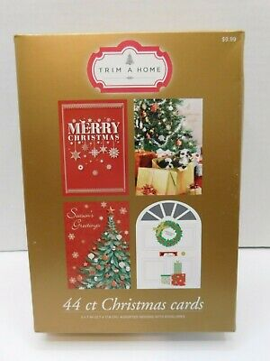 New Trim A Home Christmas Cards 44 Ct 4 Designs Snow Puppies Tree Door