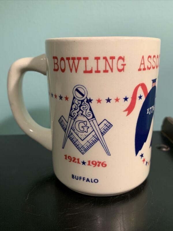 Bowling Association of Masons Mug Masonic Bicentennial 1921-1976 Buffalo NY