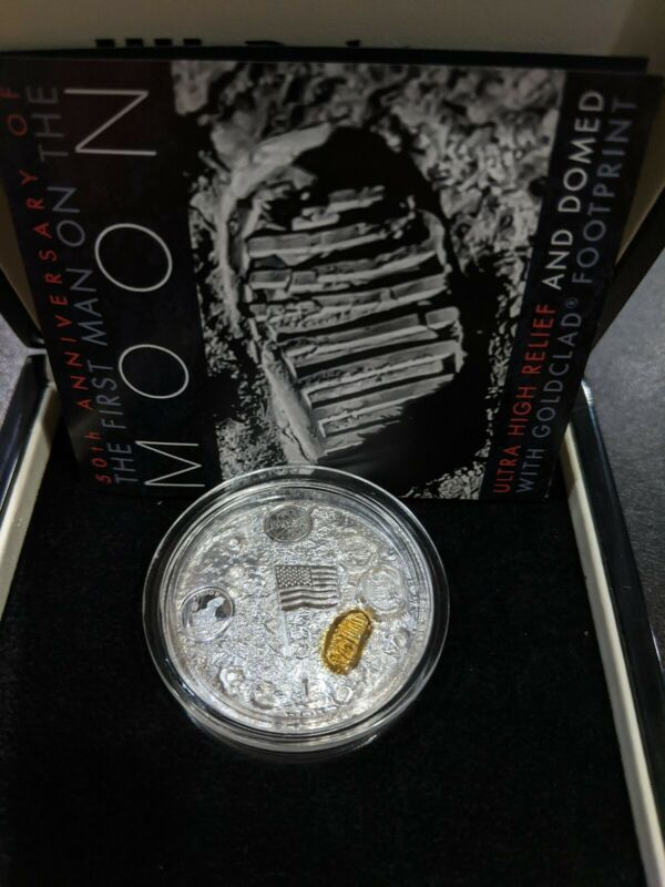 2019 NASA Man on Moon High Relief Domed 2 oz Silver Coin Apollo 11 Gold plated