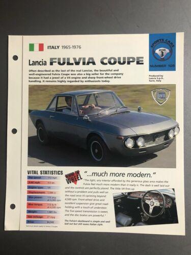 "1965 - 1976 Lancia Fulvia Coupe IMP ""Hot Cars"" Spec Sheet Folder Brochure - RARE"
