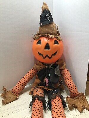Vintage Scarecrow with Pumpkin Blow Mold Head /Treat Pail Halloween Blow Mold