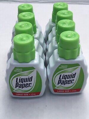 8 Liquid Paper Correction Fluid Large Size 22ml With Foam Brush
