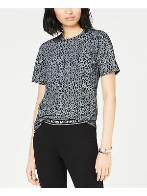 MICHAEL KORS $58 Womens New Black Printed Short Sleeve T-Shirt Top L Petites B+B