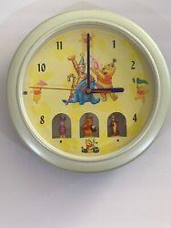 Vintage Disney Winnie The Pooh Wall Clock, Animated, 10 Round,
