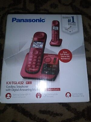Panasonic KX-TGL432R DECT 6.0 Cordless Phone w/ Digital Answering System Red K33
