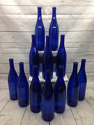 Hock Wine Bottles (12 750ml Stretch Cobalt Deep Blue Hock Wine Bottles Weddings Party Home Brew NEW )