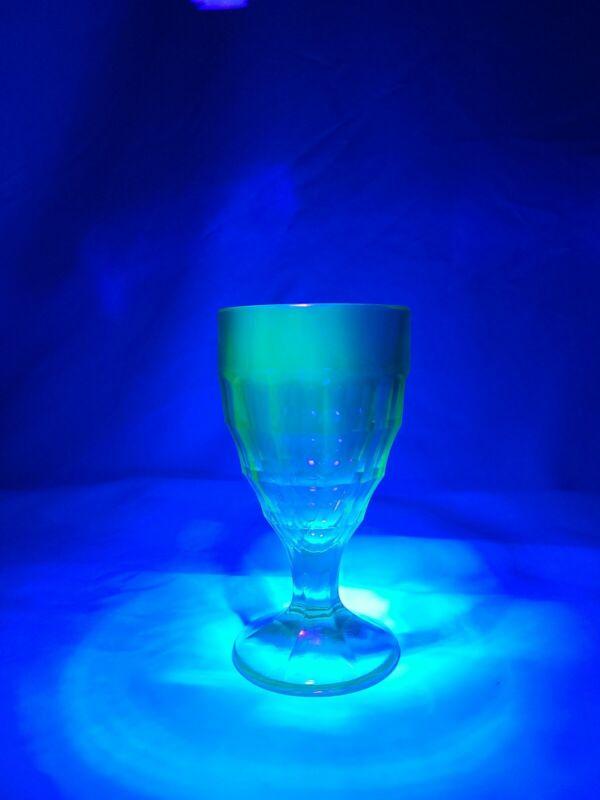 Vintage Depression era BLOCK OPTIC URANIUM glass stemmed goblet