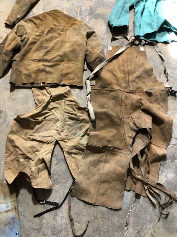 LOT Leather Welding Work Jacket Split Leg Apron Flame Resistant  Proban Shirt
