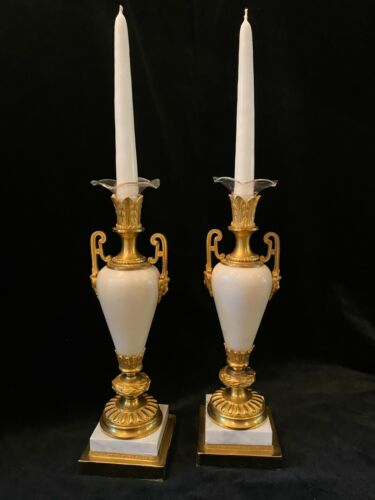 Pair of Antique French White Marble and Gilt Bronze Ormolu Candlesticks
