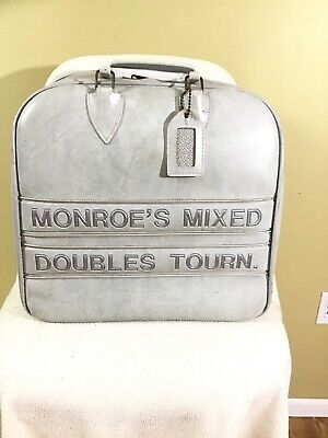 Vintage Colonial Heavy Bowling Bag Gray Monogram w/storage compartment ball rack