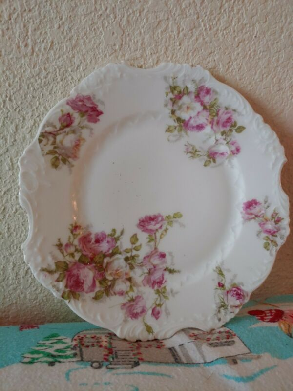 """Antique Silesia Pink Roses Embossed Scroll Porcelain Plate 7 7/8"""""""