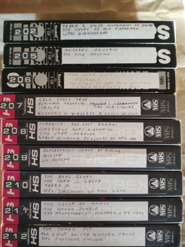 Used 16 VHS Tape Sold as Blanks. Taped in 1989.