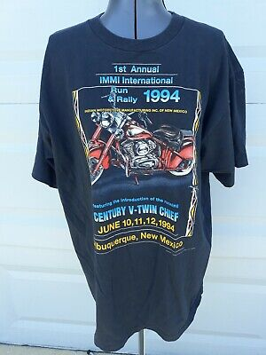 Vtg 1994 Indian Motorcycle IMMI 3D Emblem Century Chief Black T-Shirt Size XL