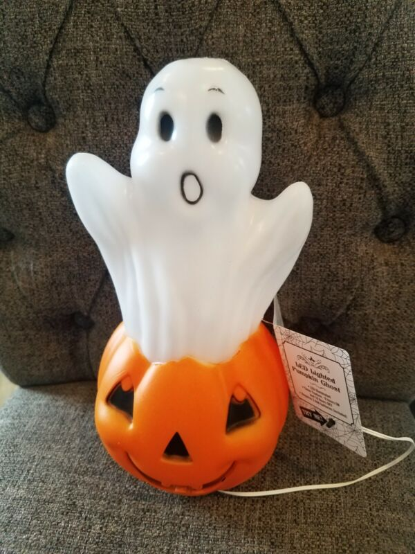 Reproduction Vintage style Halloween Spooky Light Up Blow Mold Pumpkin and ghost