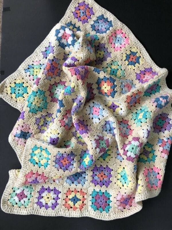"Hand Made Baby Granny Afghan. Cream Background/Pastel Squares 48""x 40"""