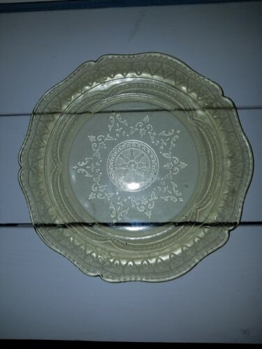 "Vintage Federal Patrician Spoke Depression Glass Yellow Platter Plate 11"""