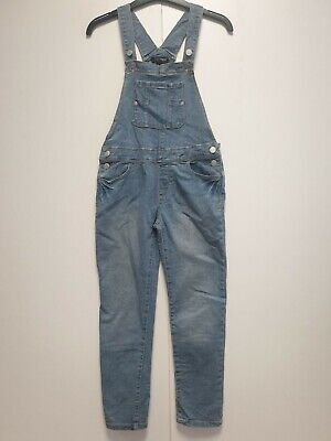 GIRLS JORDACHE BLUE TAPERED  DENIM DUNGAREES UK AGE 7-8 YEARS W26 L24