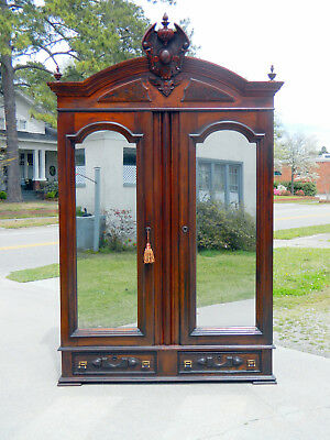Walnut Victorian Mirrored Door Wardrobe Armoire
